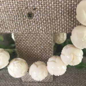 Vintage Jewelry - Vintage Carved Roses Beaded Necklace